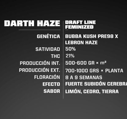 Descripcion Darth Haze de semillas feminizadas